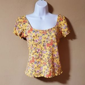Outlaw Floral Yellow Top Womens Medium